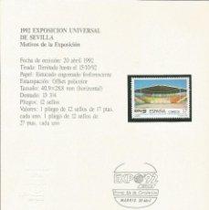Sellos: ESPAÑA 1992 - ES 3166 - SELLO NUEVO DE LA EXPO 92 MONTADO EN TARJETA - CURIOSO. Lote 162967526
