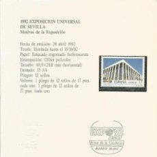 Sellos: ESPAÑA 1992 - ES 3171 - SELLO NUEVO DE LA EXPO 92 MONTADO EN TARJETA - CURIOSO. Lote 162967798
