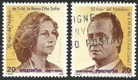 ESPAÑA 1988 - ES 2927 Y 2928 - CUMPLEAÑOS JUAN CARLOS I Y SOFIA - 2 SELLOS USADOS (Sellos - España - Juan Carlos I - Desde 1.986 a 1.999 - Usados)