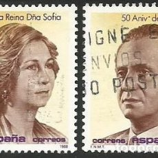 Sellos: ESPAÑA 1988 - ES 2927 Y 2928 - CUMPLEAÑOS JUAN CARLOS I Y SOFIA - 2 SELLOS USADOS. Lote 163854322
