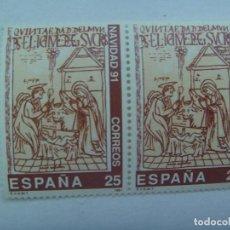 Sellos: LOTE DE 2 SELLOS DE NAVIDAD , DE 25 PESETAS . 1991. Lote 164005050