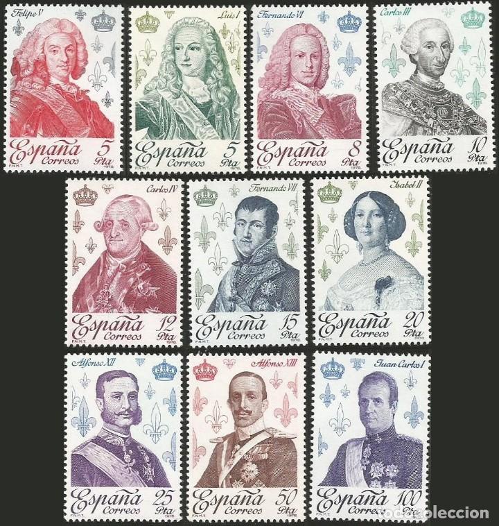 ESPAÑA 1978 - ES 2496 A 2505 - REYES CASA DE BORBON - SERIE DE 10 SELLOS NUEVOS (Sellos - España - Juan Carlos I - Desde 1.975 a 1.985 - Nuevos)