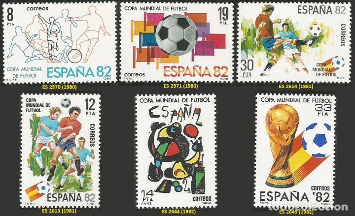 ESPAÑA 1980 A 1982 - MUNDIAL DE FUTBOL ESPAÑA 82 - 3 SERIES - 6 SELLOS NUEVOS (Sellos - España - Juan Carlos I - Desde 1.975 a 1.985 - Nuevos)