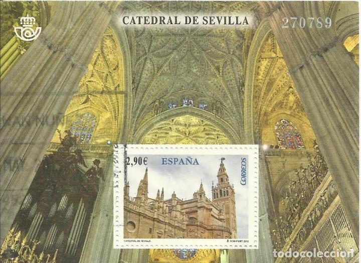 CATEDRAL DE SEVILLA. 270789. 2012. SELLO EN HOJA SELLADO. BUEN ESTADO. 8X10,5 CM. (Sellos - España - Juan Carlos I - Desde 2.000 - Usados)