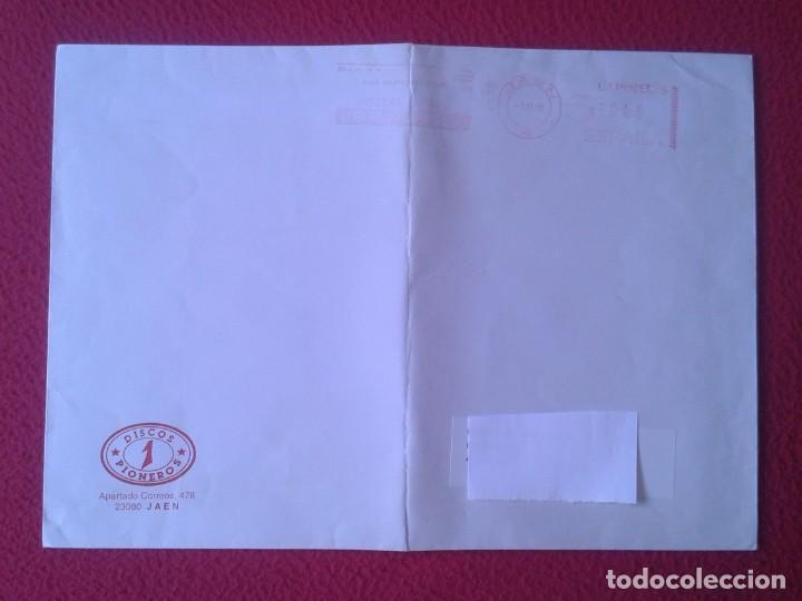 ANTIGUO SOBRE AÑO 1998 CON MEMBRETE TIENDA DE DISCOS PIONEROS JAÉN DISCO SHOP.. VINILO...CD MÚSICA.. (Sellos - España - Juan Carlos I - Desde 1.986 a 1.999 - Cartas)