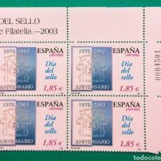 Sellos: ESPAÑA 2003. DÍA DEL SELLO. BLOQUE DE 4.. Lote 165864990