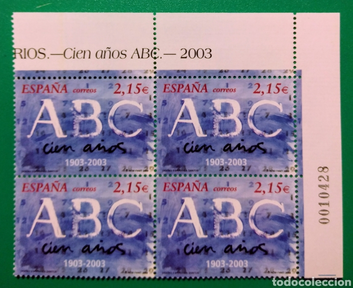 ESPAÑA 2003. BLOQUE DE 4. CENTENARIO ABC, MADRID. (Sellos - España - Juan Carlos I - Desde 2.000 - Nuevos)