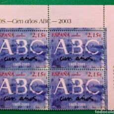 Sellos: ESPAÑA 2003. BLOQUE DE 4. CENTENARIO ABC, MADRID.. Lote 165895974