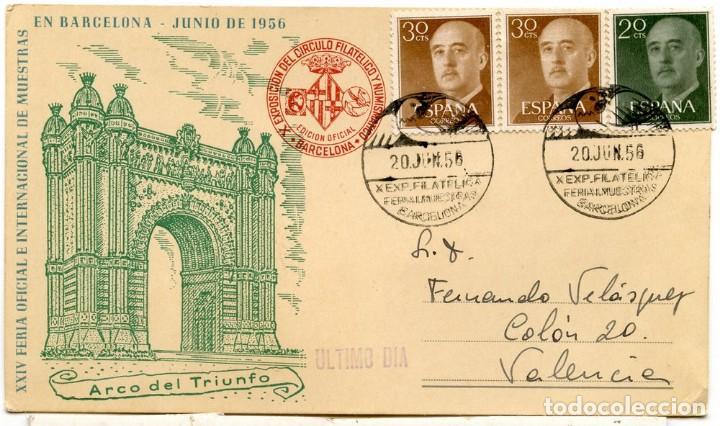 EXPO. FILATÉLICA. XIV FERIA MUESTRARIO INTERNACIONAL DE BARCELONA. 1956. MATASELLOS ESPECIAL (Sellos - España - Juan Carlos I - Desde 1.975 a 1.985 - Cartas)