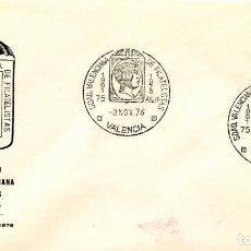 Sellos: 75 ANIVERSARIO SOCIEDAD VALENCIANA DE FILATELISTAS. 1976. MATASELLOS ESPECIAL.. Lote 166425306