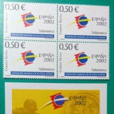 Sellos: 2002. BLOQUE DE 4 + 4 HOJITAS. EX.FILA. ED. 3877/3878**. Lote 166567862