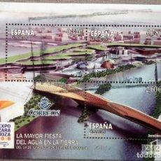 Sellos: ESPAÑA 2008, HOJA BLOQUE EXPO ZARAGOZA, CON 3 SELLOS. USADO CON GOMA INTACTA. Lote 167378358