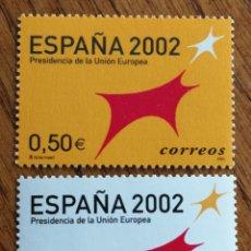 Sellos: ESPAÑA : N°3865/66 MNH, PRESIDENCIA DE LA UNIÓN EUROPEA 2002. Lote 179157003