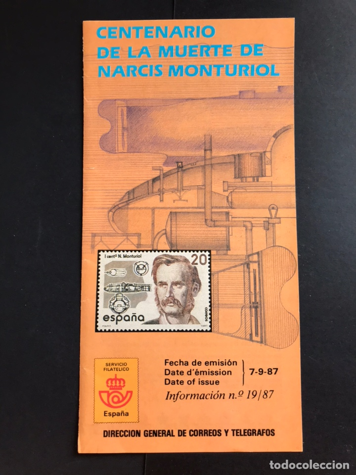 SELLOS FOLLETO INFORMATIVO CENTENARIO MUERTE DE NARCIS MONTURIOL (Sellos - España - Juan Carlos I - Desde 1.986 a 1.999 - Nuevos)