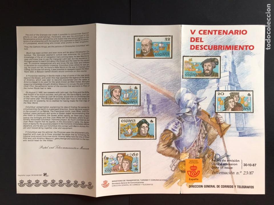 SELLOS FOLLETO INFORMATIVO V CENTENARIO DEL DESCUBRIMIENTO (Sellos - España - Juan Carlos I - Desde 1.986 a 1.999 - Nuevos)