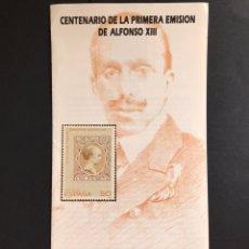 Sellos: SELLOS FOLLETO INFORMATIVO CENTENARIO DE LA PRIMERA RMISION DE ALFONSO XIII. Lote 170510757
