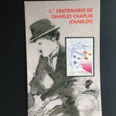 Sellos: SELLOS FOLLETO INFORMATIVO 1 CENTENARIO DE CHARLES CHAPLIN CHARLOT. Lote 170510880