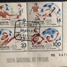 Sellos: SELLOS MUNDIAL ESPAÑA 82 CON MATASELLOS DE LOS REALES TENERIFE. Lote 170537701