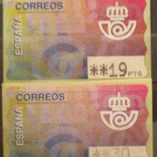 Sellos: ETIQUETAS - ATM Nº 6 EMBLEMA DE CORREOS - 3 DIGITOS - NUEVAS ** 2 VALORES. Lote 171972779