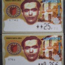 Sellos: ETIQUETAS - ATM Nº 13 - FEDERICO GARCIA LORCA - 4 DIGITOS - NUEVAS ** 2 VALORES. Lote 171973593