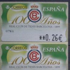 Sellos: ETIQUETAS - ATM Nº 25 - REAL CLUB DE TENIS BARCELONA - 4 DIGITOS - NUEVAS ** SERIE 3 VALORES EN €URO. Lote 171974172