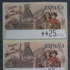 Sellos: ETIQUETAS - ATM Nº 26 - VIRGEN DEL CARMEN - 4 DIGITOS - NUEVAS ** SERIE 3 VALORES EN PTS. Lote 171974359