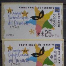 Sellos: ETIQUETAS - ATM Nº 34 - CARNAVAL DE TENERIFE - 4 DIGITOS - NUEVAS ** SERIE 3 VALORES EN PTS. Lote 172034165