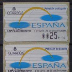 Sellos: ETIQUETAS - ATM Nº 35 - EXPO 2000 HANNOVER - 4 DIGITOS - NUEVAS ** SERIE 3 VALORES EN PTS. Lote 172034177