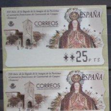 Sellos: ETIQUETAS - ATM Nº 36 - LA PURISIMA - 4 DIGITOS - NUEVAS ** SERIE 3 VALORES EN PTS. Lote 172034182
