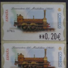 Sellos: ETIQUETAS - ATM Nº 42 - LOCOMOTORA 120 - 4 DIGITOS - NUEVAS ** SERIE 3 VALORES EN €UROS. Lote 172034209