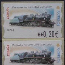Sellos: ETIQUETAS - ATM Nº 43 - LOCOMOTORA 141 - 4 DIGITOS - NUEVAS ** SERIE 3 VALORES EN €UROS. Lote 172034222