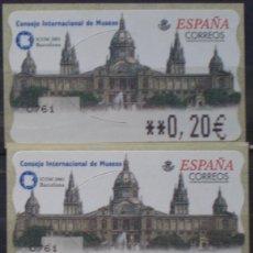 Sellos: ETIQUETAS - ATM Nº 44 - FERIA INT. DE MUSEOS - 4 DIGITOS - NUEVAS ** SERIE 3 VALORES EN €UROS. Lote 172034232