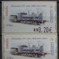 Sellos: ETIQUETAS - ATM Nº 45 - LOCOMOTORA 030 - 4 DIGITOS - NUEVAS ** SERIE 3 VALORES EN €UROS. Lote 172034259