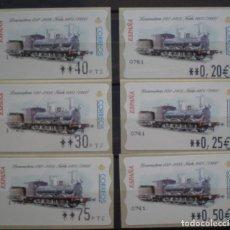Sellos: ETIQUETAS - ATM Nº 45 - LOCOMOTORA 030 - 4 DIGITOS - NUEVAS ** SERIE 3 VALORES EN PTS Y €UROS. Lote 172034262