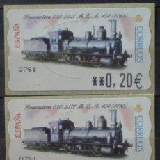 Sellos: ETIQUETAS - ATM Nº 46 - LOCOMOTORA 030- 2577 - 4 DIGITOS - NUEVAS ** SERIE 3 VALORES EN €UROS. Lote 172088184