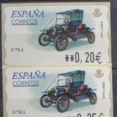 Sellos: ETIQUETAS - ATM Nº 49 COCHE FORD T CASC - 4 DIGITOS - NUEVAS ** SERIE 3 VALORES EN €UROS. Lote 172089619