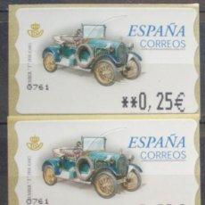 Sellos: ETIQUETAS - ATM Nº - COCHE HUMBET T 1910 CASC - 4 DIGITOS - NUEVAS ** SERIE 3 VALORES EN €UROS. Lote 172089917