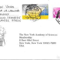 Sellos: CANARIAS. CORREO AEREO. DE LA LAGUNA - TENERIFE A NEW YORK - EEUU. 1995. Lote 172389892
