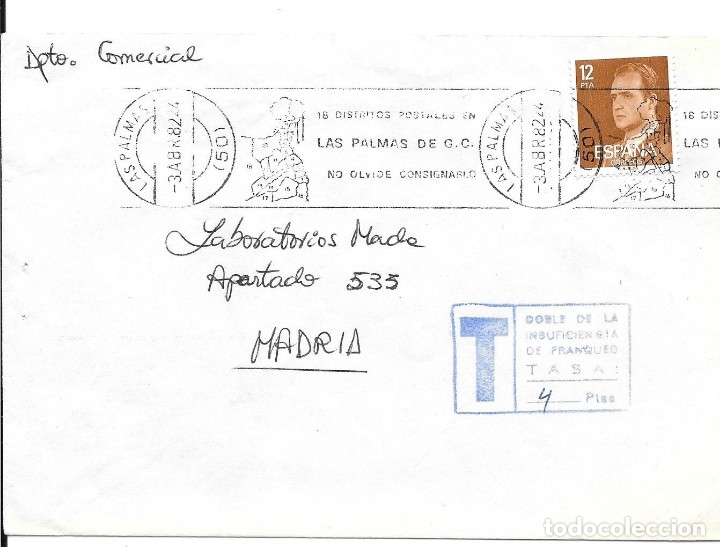 FRAUDE AL CORREO. SOBRE CIRCULADO CON INSUFICIENCIA DE FRANQUEO. 1982 (Sellos - España - Juan Carlos I - Desde 1.975 a 1.985 - Cartas)