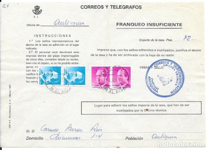 ABONO DE LA TASA DE UN ENVIO CON INSUFICIENCIA DE FRANQUEO DE ANTEQUERA - MALAGA (Sellos - España - Juan Carlos I - Desde 1.975 a 1.985 - Cartas)
