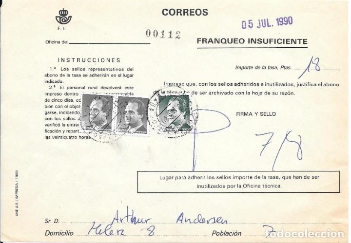 ABONO DE LA TASA DE UN ENVIO CON INSUFICIENCIA DE FRANQUEO DE MALAGA (Sellos - España - Juan Carlos I - Desde 1.975 a 1.985 - Cartas)