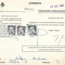 Sellos: ABONO DE LA TASA DE UN ENVIO CON INSUFICIENCIA DE FRANQUEO DE MALAGA. Lote 172392193