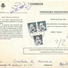 Sellos: ABONO DE LA TASA DE UN ENVIO CON INSUFICIENCIA DE FRANQUEO DE MALAGA. Lote 172392323