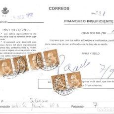Sellos: ABONO DE LA TASA DE UN ENVIO CON INSUFICIENCIA DE FRANQUEO DE MALAGA. Lote 172392434