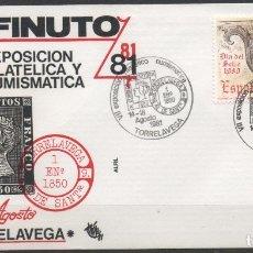 Sellos: SOBRE CON MATASELLO ESPECIAL DE LA EXPOSICION FILATELICA DE TORRELAVEGA DEL AÑO 1981. Lote 172760933