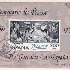 Sellos: ESPAÑA.- Nº 2631 HOJA BLOQUE DEL GUERNICA MATASELLADA.EN MALAGA CONMEMORATIVO. . Lote 172881099