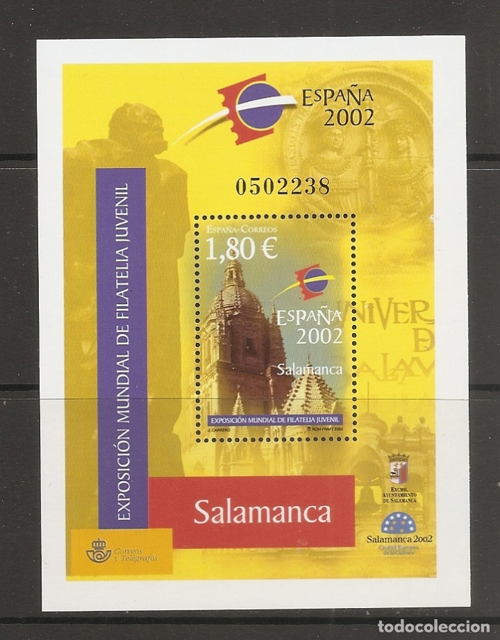 ESPAÑA 2002. EXPOSICION MUNDIAL DE FILATELIA JUVENIL. EDIFIL Nº 3878. A FACIAL !!! (Sellos - España - Juan Carlos I - Desde 2.000 - Nuevos)