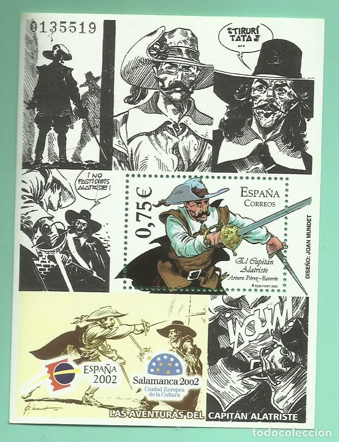 HOJITA DE SELLOS DEL 2002. CAPITÁN ALATRISTE, SELLO DE 0,75 CON EL 30% DESCUENTO (Sellos - España - Juan Carlos I - Desde 2.000 - Nuevos)