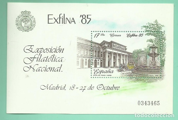 1985 EXFILNA ´85. MUSEO DEL PRADO (Sellos - España - Juan Carlos I - Desde 1.986 a 1.999 - Nuevos)
