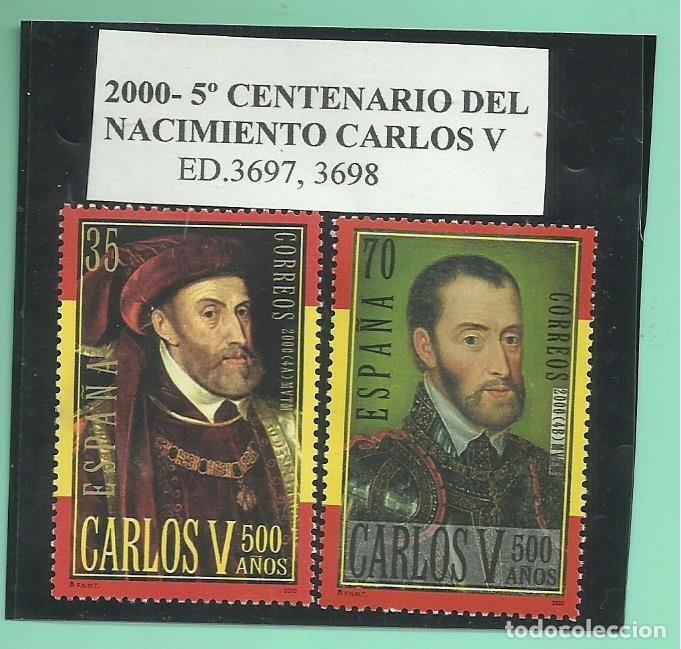 2000. 2 SELLOS 5º CENTENARIO DEL NACIMIENTO CARLOS V (Sellos - España - Juan Carlos I - Desde 1.986 a 1.999 - Nuevos)